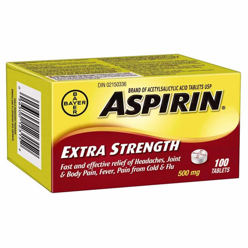 Viên uống giảm đau Bayer Aspirin Extra Strength 500mg 100 viên: