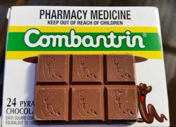 Kẹo tẩy giun Combantrin Chocolate Squares của Úc cho cả nhà