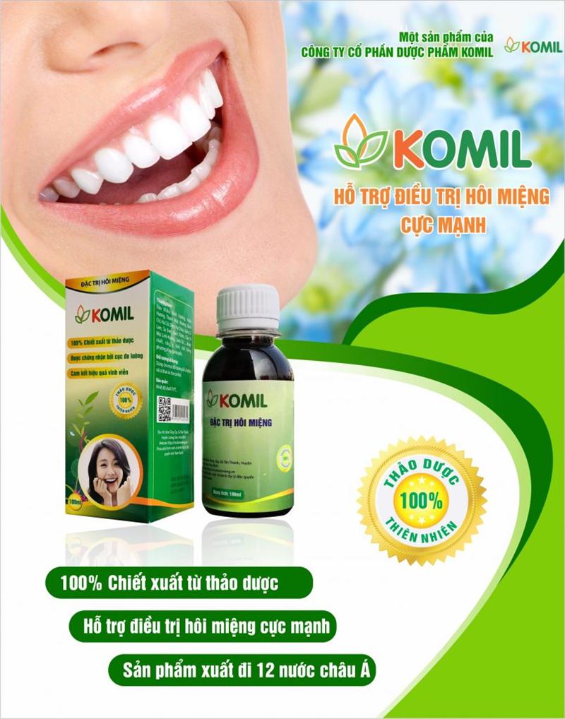 Thuốc Komil là một loại thực phẩm chức năng giúp hỗ trợ và điều trị các triệu chứng hôi miệng do sâu răng và viêm lợi,... sản phẩm được sản xuất bởi công ty Cổ phần Dược phẩm Komil