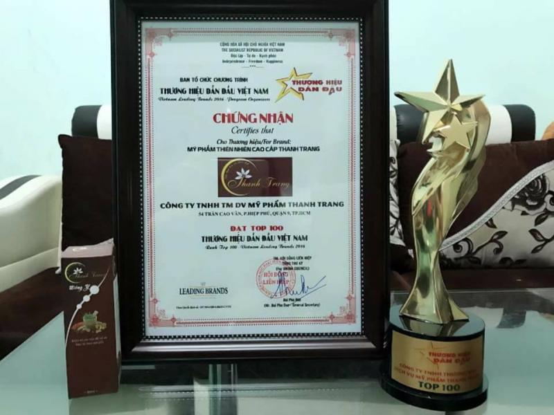 Giấy chứng nhận sản phẩm Thanh Trang lọt top 100 thương hiệu dẫn đầu Việt Nam