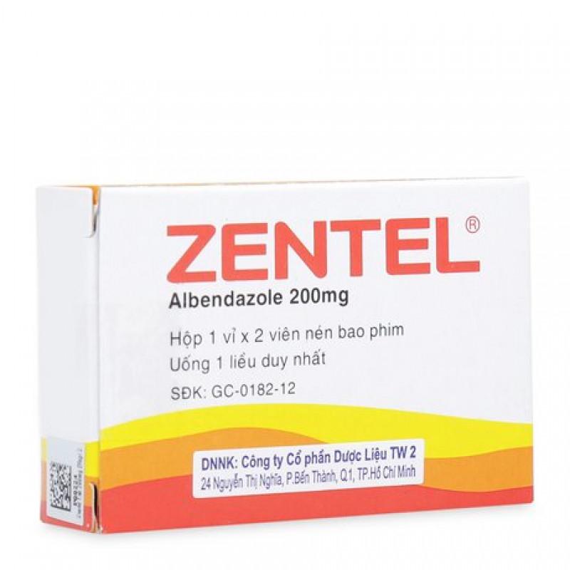 Viên uống tẩy giun sán Zentel 200mg (2 viên/hộp)