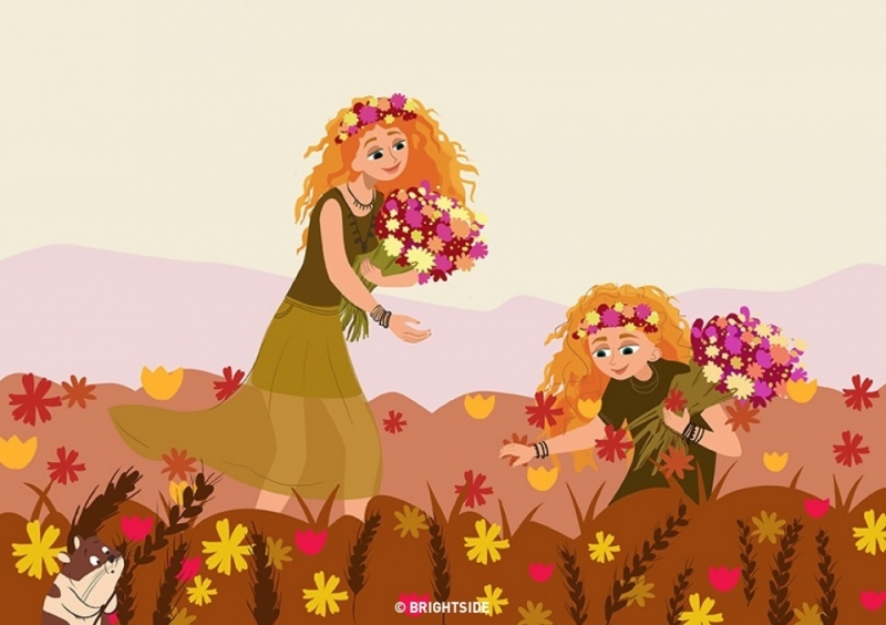 Con gái cũng yêu thiên nhiên như mẹ.