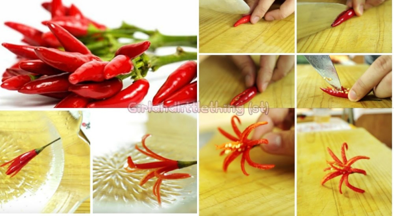 Tỉa hoa ly từ quả ớt