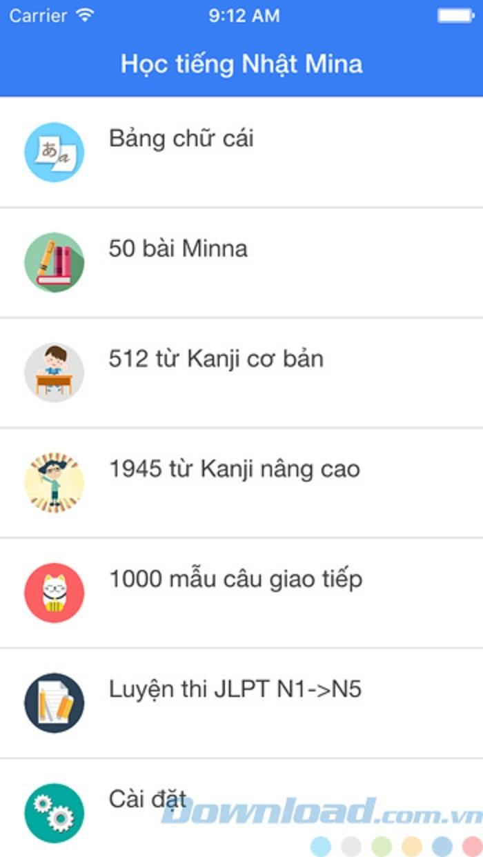 Học tiếng Nhật Mina hỗ trợ người dùng học tiếng Nhật từ trình độ cơ bản đến nâng cao