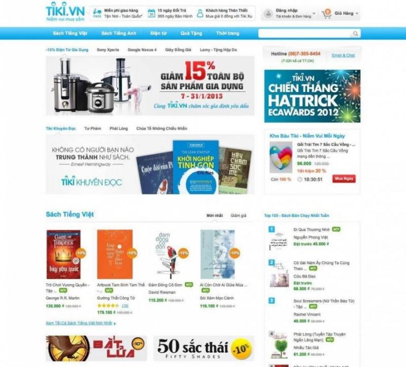 Tiki bán nhiều đầu sách chất lượng cao