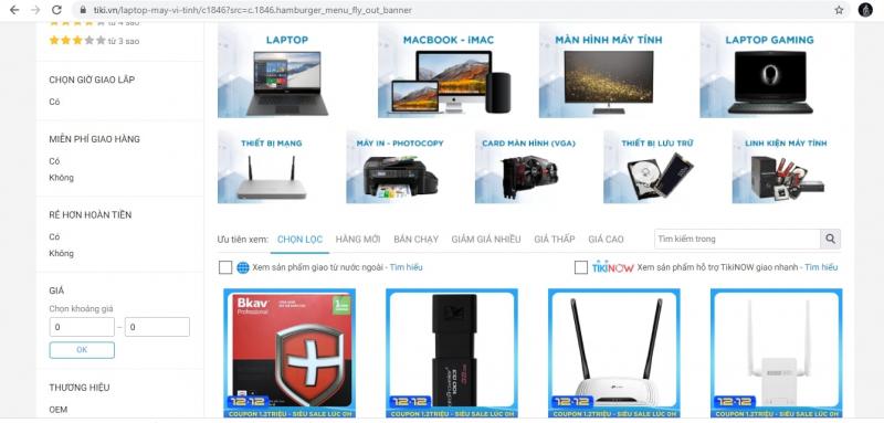 Trang mạng của Tiki.com