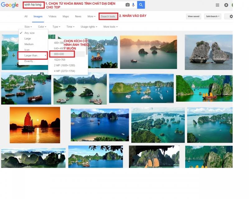 Các bước chọn hình ảnh có chất lượng trên 600px trên Google Image