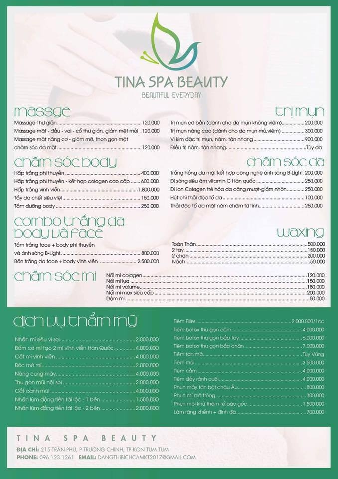 Bảng giá tại thẩm mỹ viện Tina Spa Beauty cho những ai cần tham khảo
