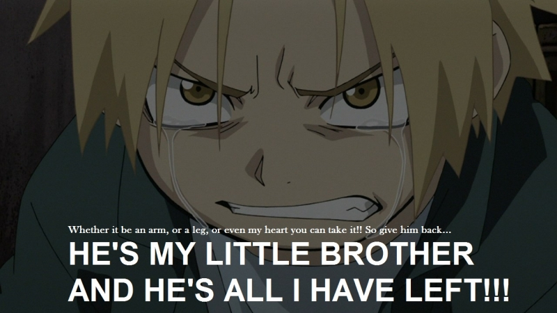 HE'S MY LITTLE BROTHER AND HE'S ALL I HAVE LEFT!