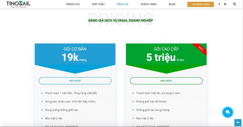 Bảng giá dịch vụ email doanh nghiệp TINOMAIL.COM