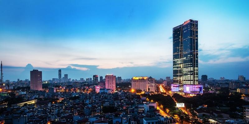 Tòa nhà Lotte Centre Hà Nội nổi bật khi đêm về
