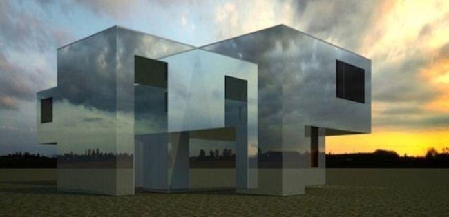 Tòa nhà gần như vô hình trước cảnh vật xung quanh.