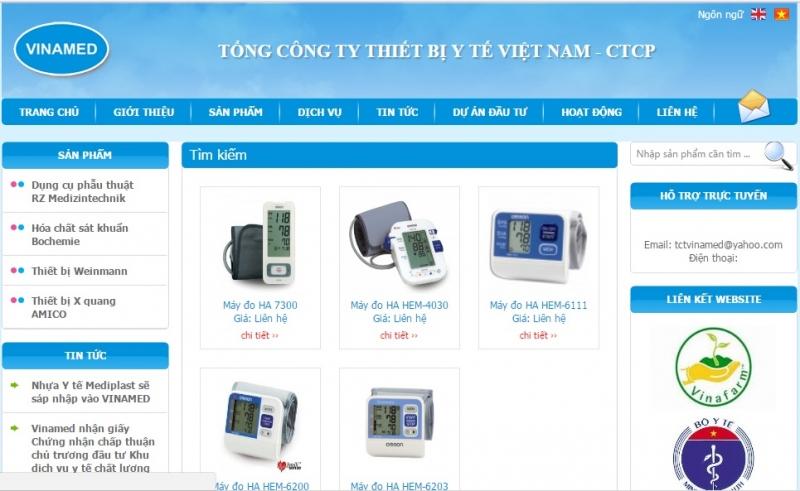 Website của Tổng Công ty Thiết bị Y tế Việt Nam - CTCP ( Vinamed)
