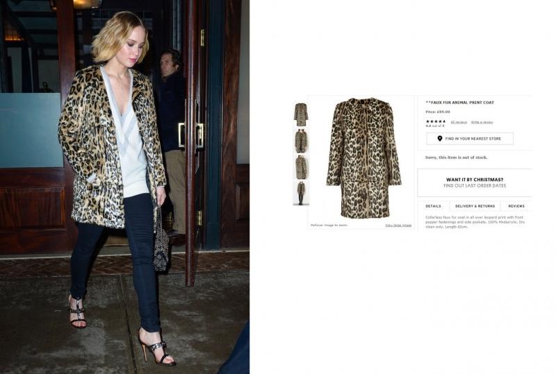 Chiếc áo khoác giả lông thú trông khá đắt tiền của Jennifer Lawrence là một thiết kế của Topshop được bán với giá 89 Bảng Anh (~ 3 triệu VNĐ)