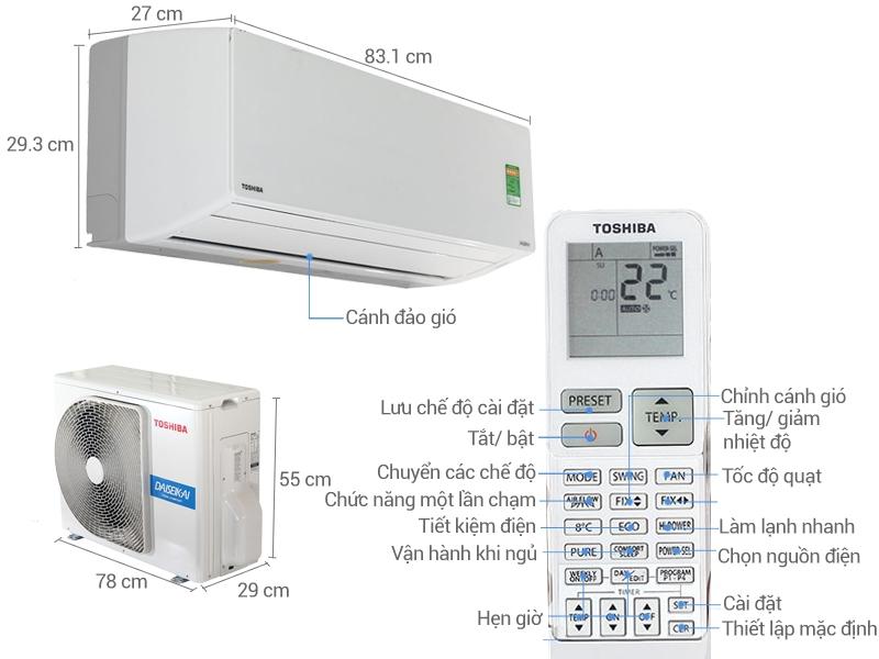 Thiết kế của máy lạnh Toshiba.