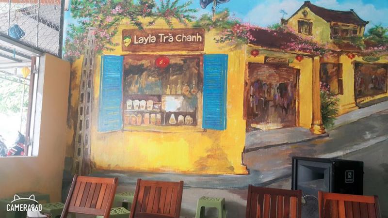 Bức tường siêu bắt mắt của Layla (Nguồn; Fanpage: Layla - Tiệm trà chanh Phùng Chí Kiên Thành phố Vinh)