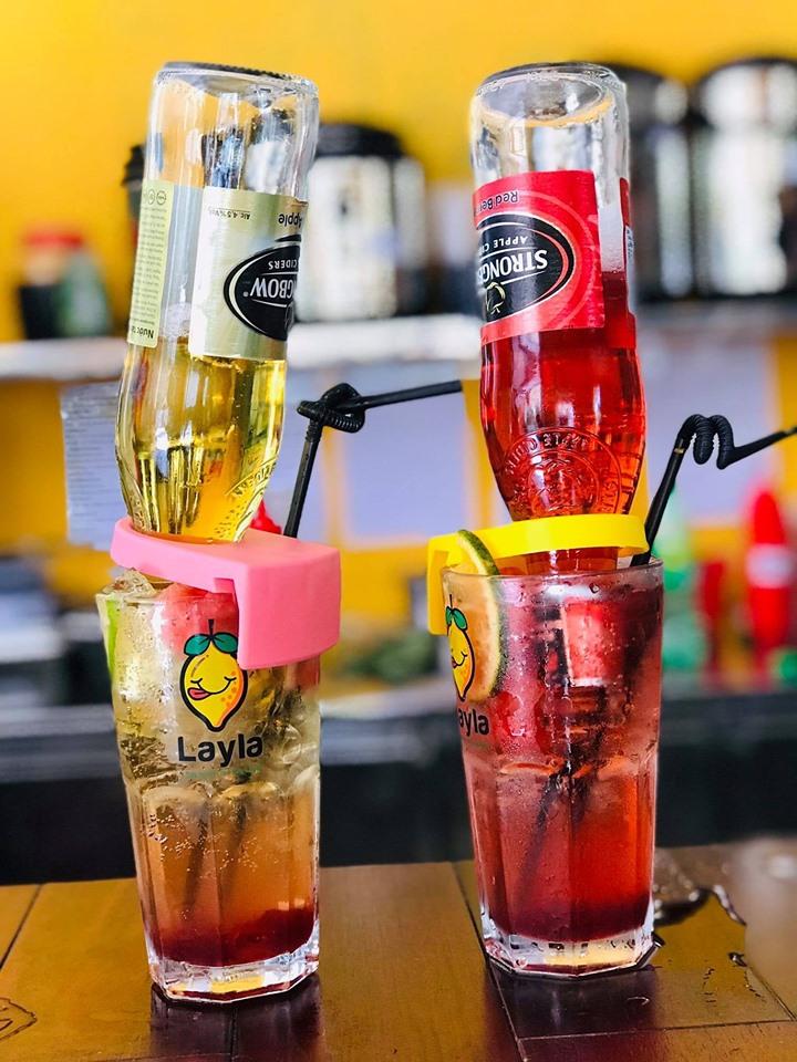 Bia úp ngược tại Layla (Nguồn; Fanpage: Layla - Tiệm trà chanh Phùng Chí Kiên Thành phố Vinh)