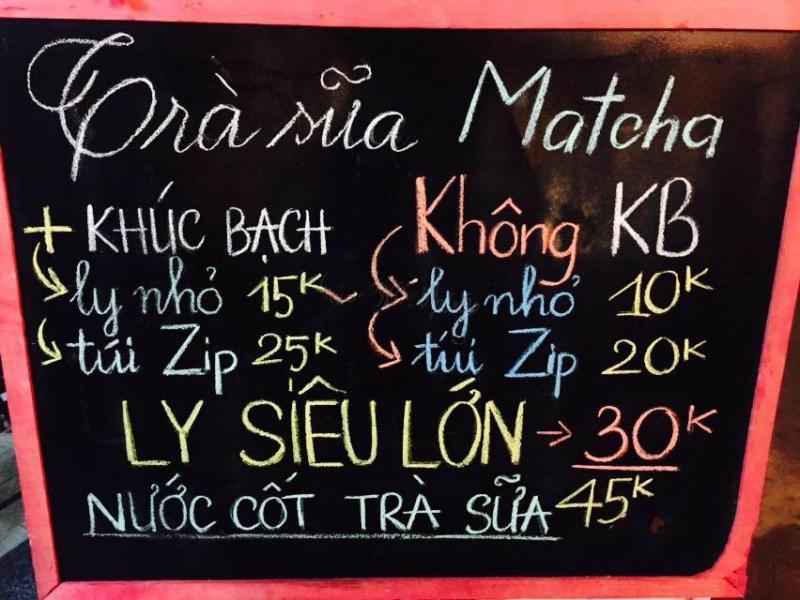 Thực đơn của Trà sữa Matcha J