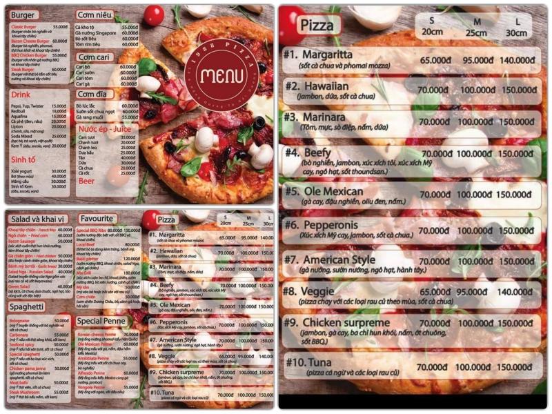 Thực đơn Pizza tại