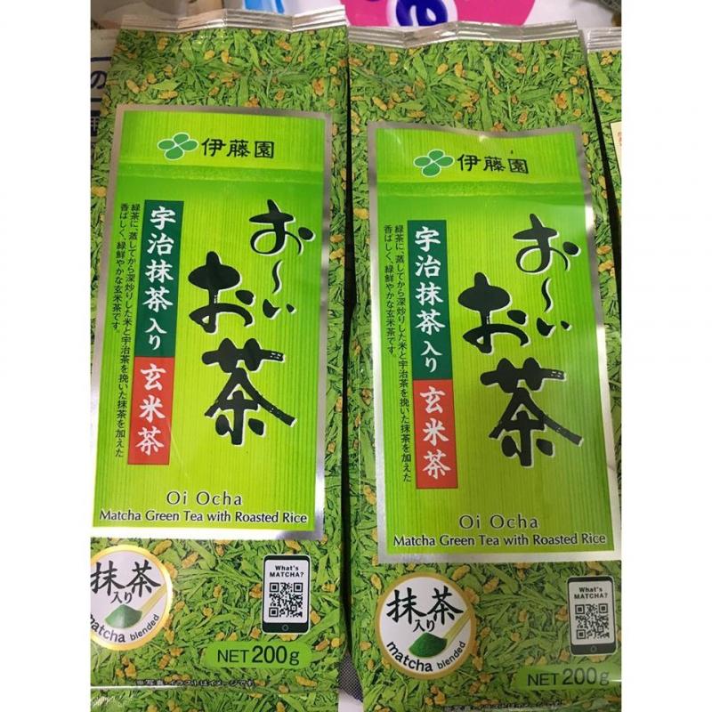 Loại trà này có xuất xứ tại Nhật Bản, thành phần là sự kết hợp hài hòa giữa trà xanh, gạo lứt và thường đóng gói 200g/túi.
