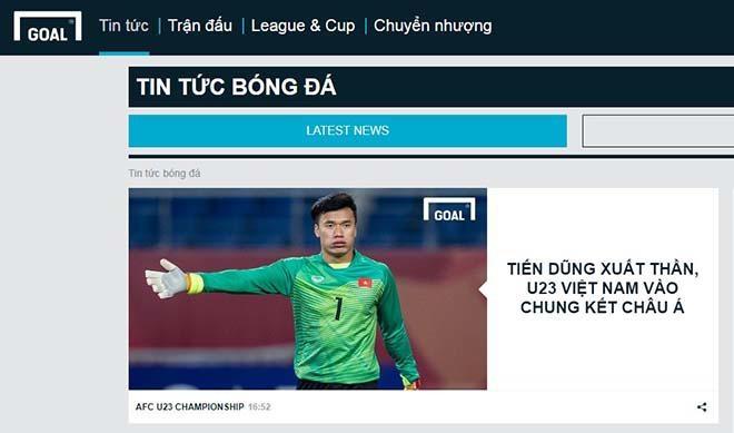 Trang Goal phiên bản tiếng Việt ca ngợi chiến thắng của U23 Việt Nam