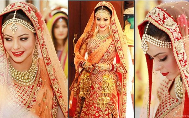 Diễn viên Aamina Shary lộng lẫy trong chiếc váy cưới truyền thống Ấn Độ.