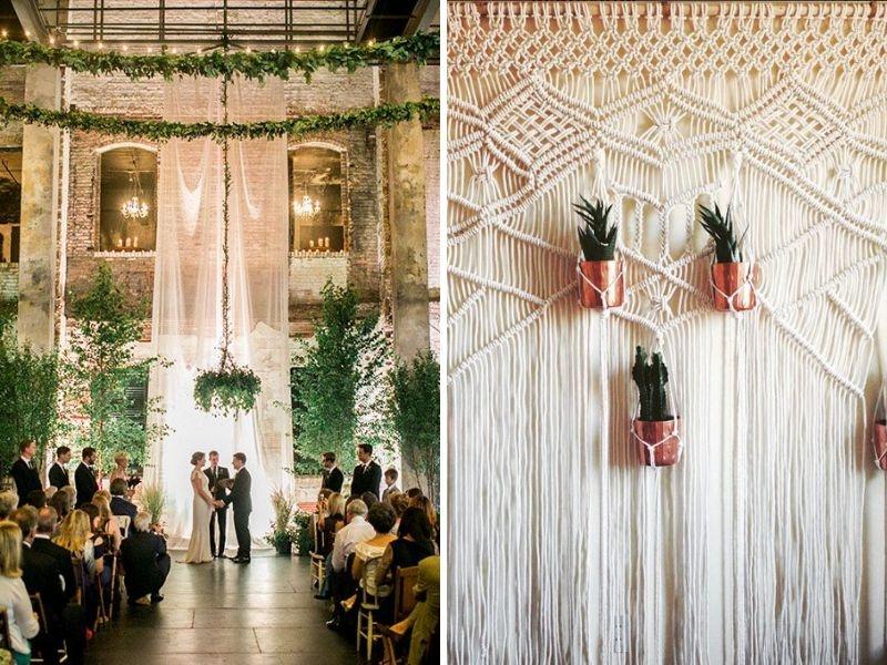 Trang trí backdrop theo xu hướng này là sử dụng những chiếc rèm bằng vải voan mỏng hay những chiếc rèm được tết từ những sợi dây dù.