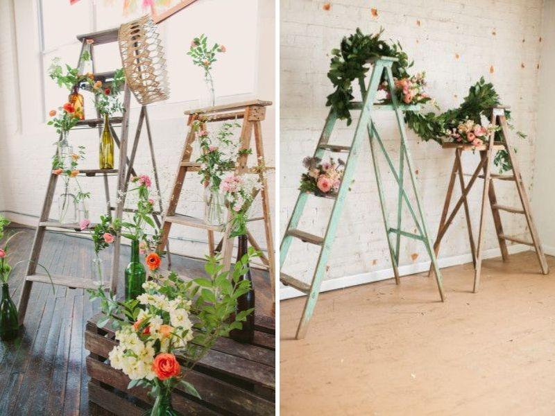 """Những chiếc thang gỗ đơn giản được trang trí và tô điểm bằng dải hoa tươi tắn thời trang mang nét cổ kính nhưng vẫn giữ nguyên vẹn sự """"sang chảnh"""" cần thiết"""
