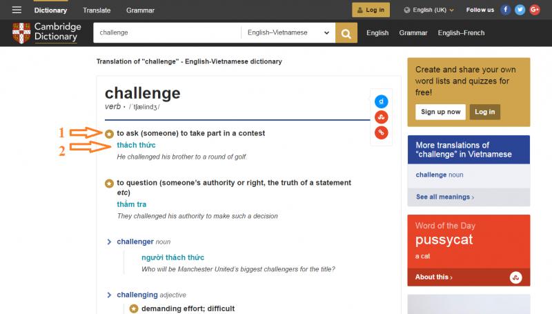 Trang Từ điển Cambridge