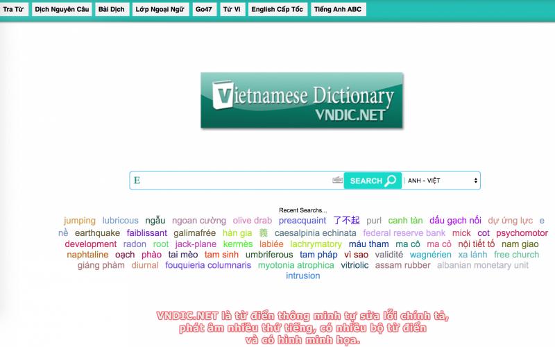 Trang Từ điển Vndict