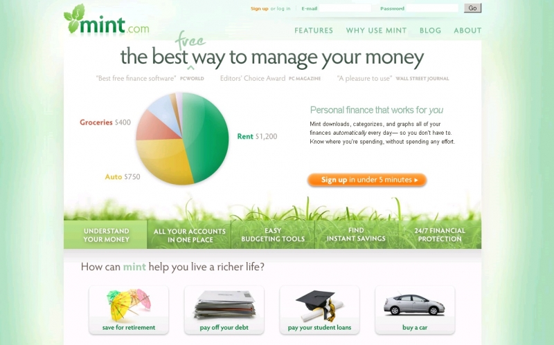 Trang web quản lí tài chính – Mint