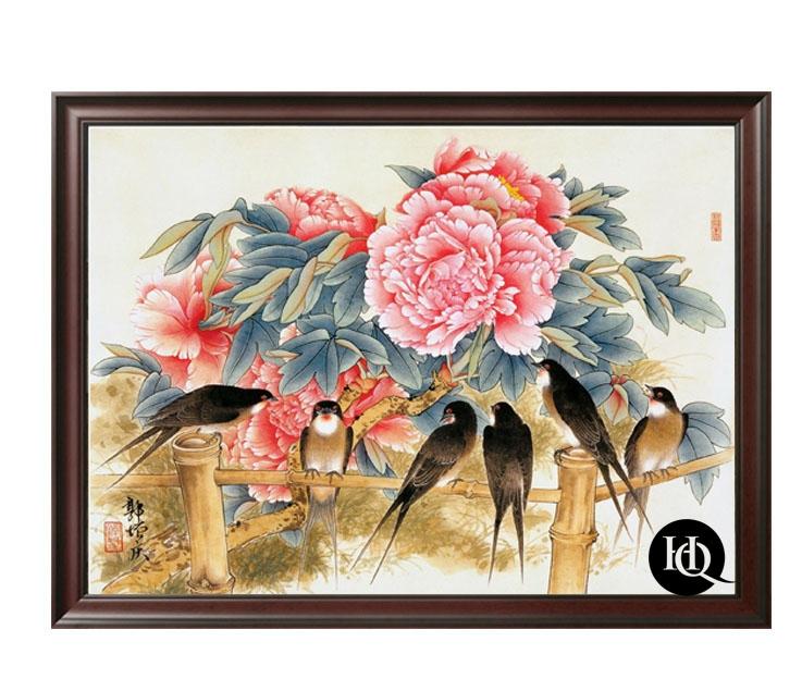 Tranh chim én và hoa