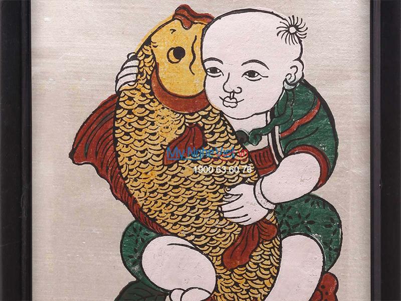 Tranh em bé ôm tôm ôm cá dân gian Đông Hồ
