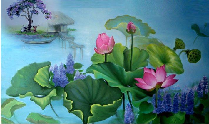 Tranh hoa sen là bức tranh phong thủy lí tưởng có thể treo ở phòng khách