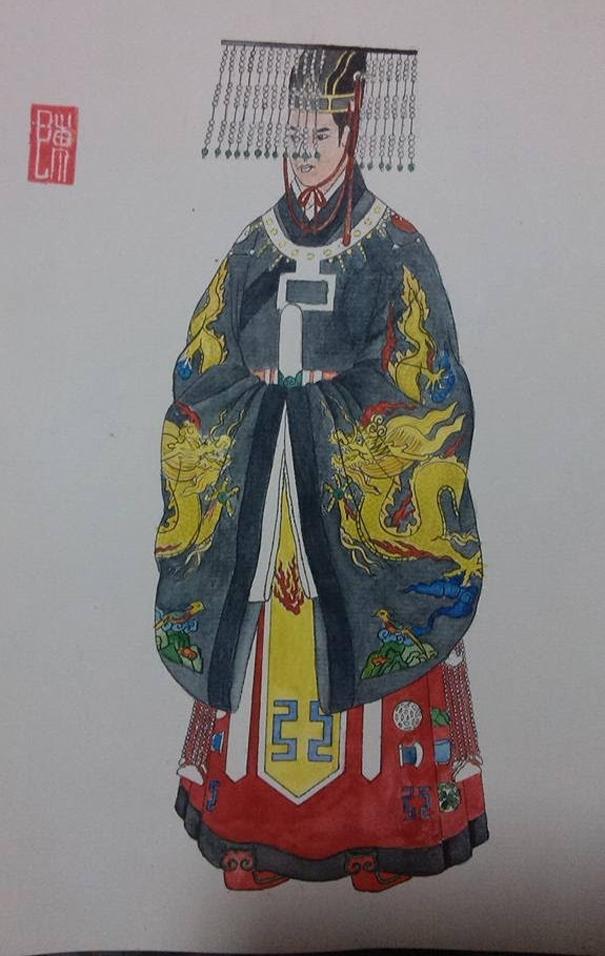 Vua Lê Thánh Tông trong trang phục cổn miện tế trời_minh họa Duy Trần