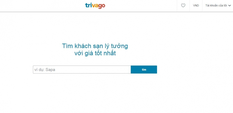 Giao diện đơn giản của Trivago