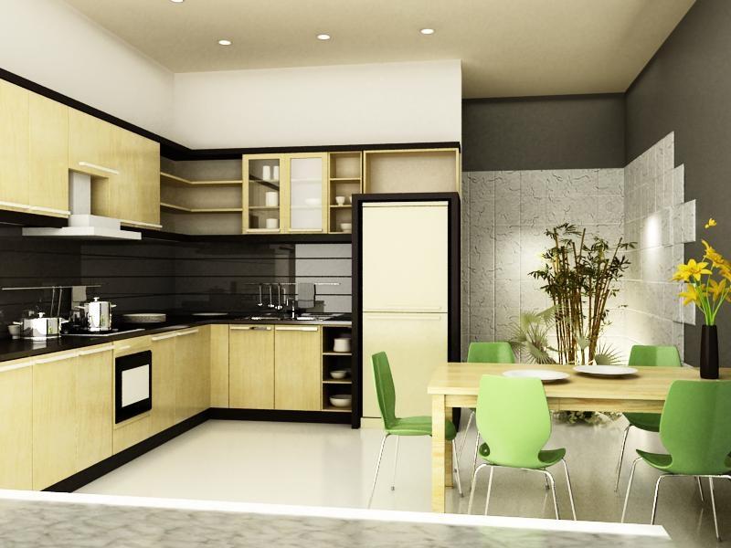 Bố trí bếp theo nguyên tắc tam giác: bếp - bồn rửa - tủ lạnh