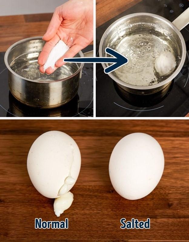 Trứng sẽ không bị nứt và lòng trắng sẽ không bị chảy ra khi luộc nếu bạn luộc với nước muối