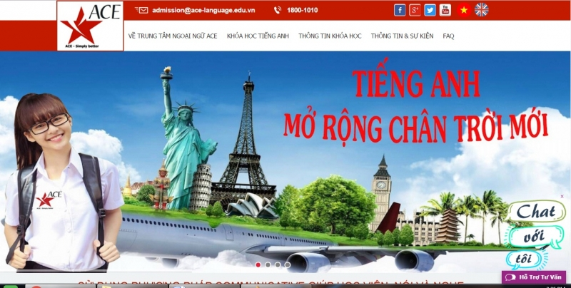 Website của Trung tâm Anh ngữ ACE