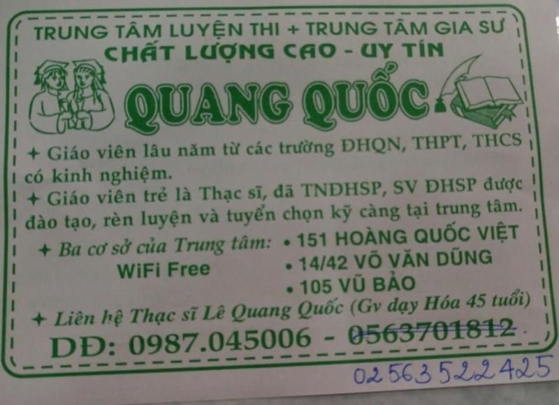 Trung tâm gia sư Quang Quốc