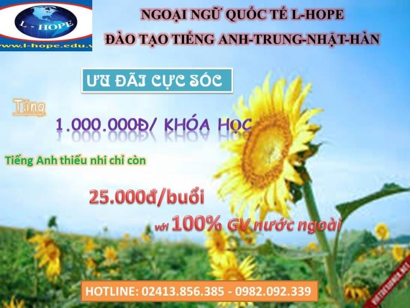 Ưu đãi cực sốc trung tâm ngoại ngữ quốc tế L-Hope