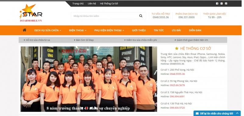 Trang WebTrung tâm sửa chữa điện thoại - ISTAR