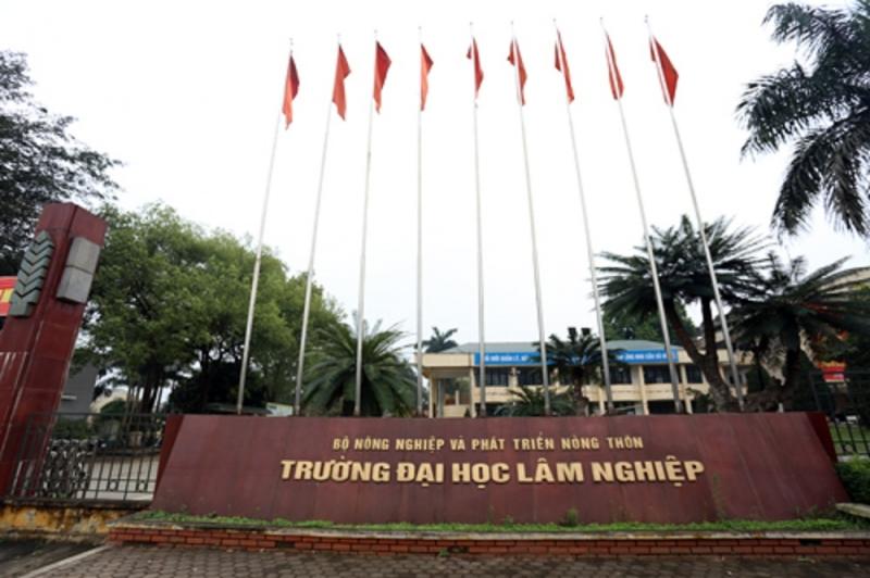 Cổng trường Đại học Lâm nghiệp.