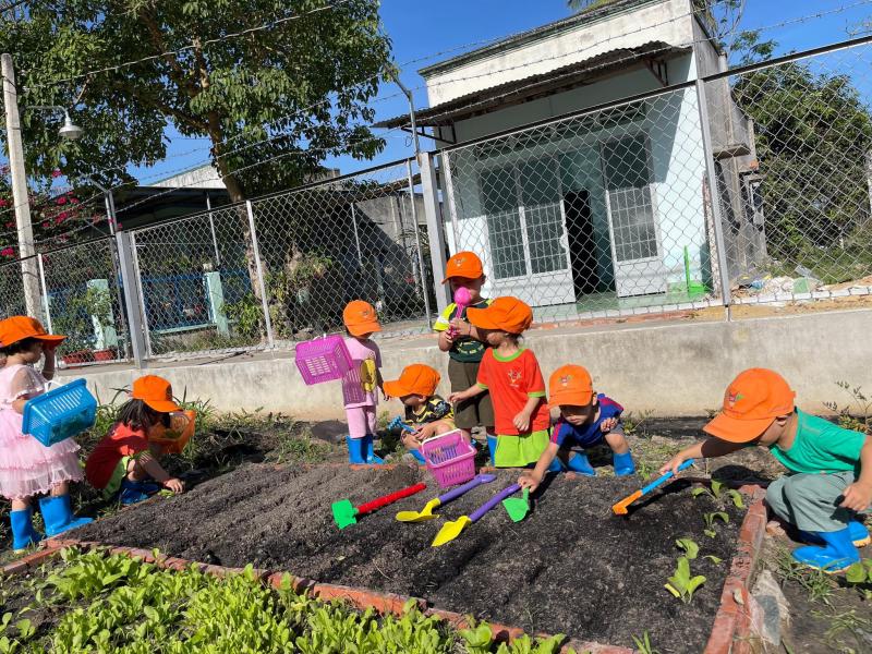 Các bé tham gia hoạt động ngoài trời tại trường