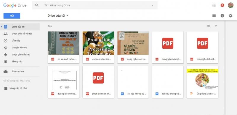 Giao diện của Google Drive khi đăng nhập thành công