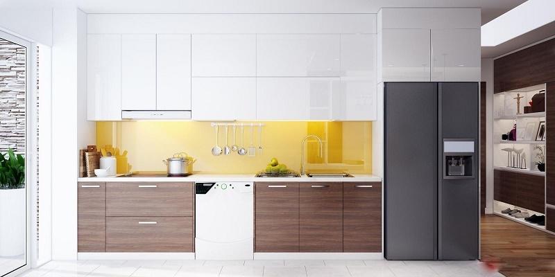 Thiết kế tủ bếp Acrylic chữ I hiện đại