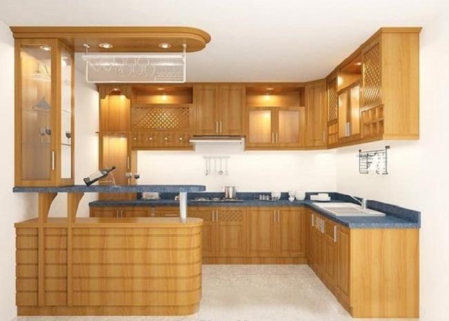 Tủ bếp gỗ Laminate có quầy bar đẹp