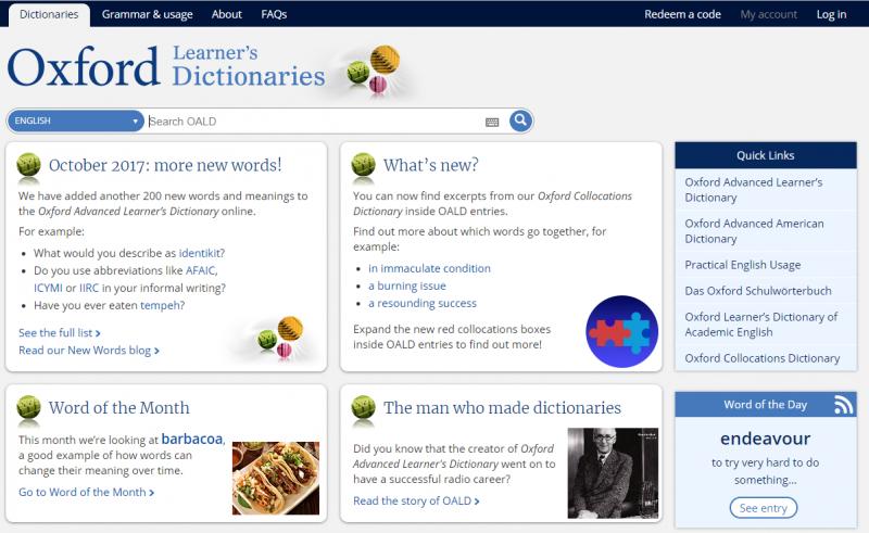 Trang web Từ điển Oxford