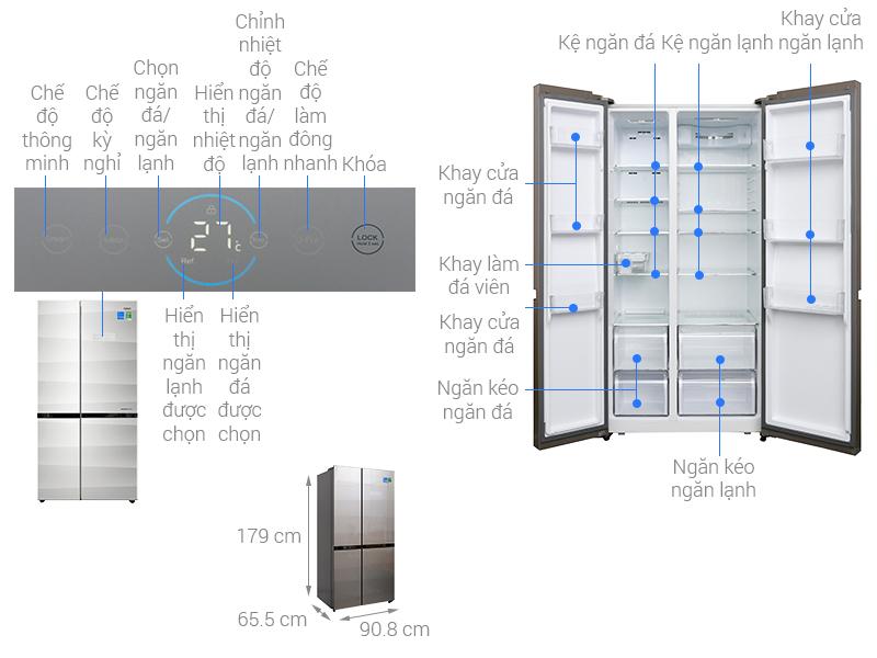 Tủ lạnh side by side thuộc thương hiệu Aqua là dòng sản phẩm hiện đại với thiết kế bảng điều khiển cảm ứng phía bên ngoài tủ, giúp bạn có thể dễ dàng tùy chỉnh