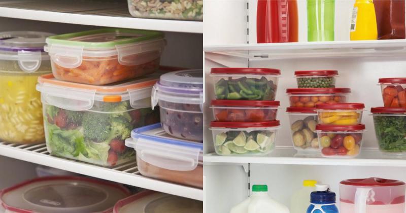 Tủ lạnh đầy hộp đựng đồ ăn